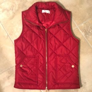 NWOT Quilted red puffer vest